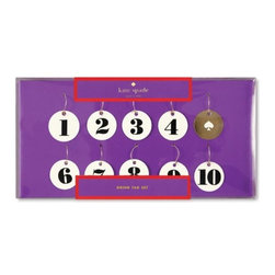 Kate Spade - Kate Spade Drink Tags, Set of 10 - Use these numbered drink tags by kate spade new york to claim your glass of wine or martini. Pick number 1 or lucky number 7, either way you'll know which glass is yours!