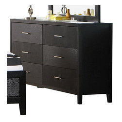 Coaster - Coaster Grove Double 6 Drawer Dresser in Black Finish - Coaster - Dressers - 201653 - Providing your bedroom with ample clothing storage this dresser is a stylish addition to any room. Silver toned handles dress the faces of six drawers on the Grove Dresser. The black simple frame matches nearly any bedroom decor. A flash of individualism and artistic design is spread over the drawer faces in a unique wood grain pattern highlighted by the black finish. Give your clothing a stylish home with the Grove Bedroom Collection Dresser.