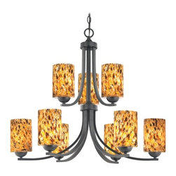 Design Classics Lighting - Modern Chandelier with Brown Art Glass in Matte Black Finish - 586-07 GL1005C - Contemporary / modern matte black 9-light chandelier. Takes (9) 100-watt incandescent A19 bulb(s). Bulb(s) sold separately. UL listed. Dry location rated.
