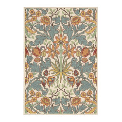 Nourison - Nourison Vista Floral Ivory 5' x 7' Rug by RugLots - The view is always beautiful with these exciting, eye-catching and durable rugs. Features a heavy loop pile with floral, paisley and ikat designs in striking colors. Select designs have been hand carved for extra texture and dimension. Bring a vibrant focal point into any interior with these attractive rugs and express yourself with style and panache.