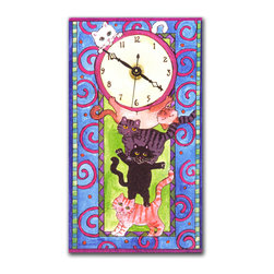 """Stack o' Cats Wall Clock - The Stack o' Cats Clock shows 5 adorable kitties holding up and playing on the clock. It's hand made in our studio, from a print of an original watercolor, which is dry mounted onto black foam board and heat-sealed with a protective laminate.�It looks just like tile but is so light it can be hung on a pushpin, so there �s no need to put a nail in your wall. It has a hanger on the back and comes in a gift box. The�quartz movement�runs on a single AA battery. Made in the USA. Size 4.65"""" x 8.1""""(Be sure to look for our cat alarm clocks, magnets and night light, too!)��"""