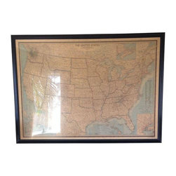 Pre-owned Large Vintage Map of the United States - This beautiful vintage map of the United States would look great in any office or living room. Dating from the early 1960s, this large map is beautifully preserved under glass and presented in a striking black frame. It's in excellent vintage condition.