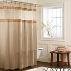 Maytex - Maytex  Embroidered Panel Fabric Shower Curtain - A stunning addition to any bathroom,this Buena Vista shower curtain features subtle floral and vine embroidery on a sheer panel. This fabric shower curtain showcases a lovely natural hue with a touch of gold.