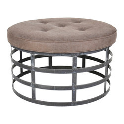 Zentique - Round Metal Ottoman - Round out your decor with this classic yet unusual ottoman. Recycled metal forms the three-ring base for a plushly upholstered top of tufted linen.