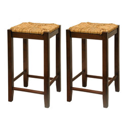 "Winsomewood - Set of 2, Rush Seat 24"" Stool, Assembled - This classic design stool has woven rush seat top with its broad square seat. Its adds traditional feel to any kitchen. Warm walnut finish."
