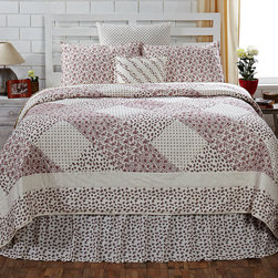 English Cottage Bedding Collection - The English Cottage Quilt has a 100% cotton shell and fill and stitch in the ditch quilting. Country inspired in soft summer hues of white and red. There are matching accessories to complete your country cottage look. Beginning at $89.95 to $199.95 depending on the size you choose.