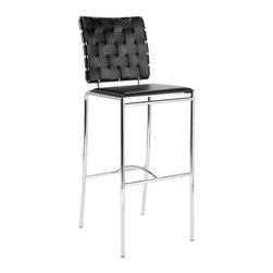 Euro Style - Woven Bar Stools in Black Leather and Chrome - Set of 2. Chromed steel frame. Woven leather chair back. Smooth leather seat. Pictured in Black Leather and Chrome. Some assembly required. Seat Height: 30 in.. 16.5 in. W x 16.5 in. D x 42.5 in. H. Assembly Instructions