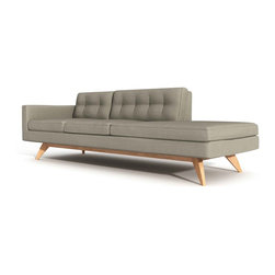 True Modern - Luna 1-Arm Sofa With Chaise, Calvin Mouse - It's 50 percent sofa, 50 percent chaise, and 100 percent comfortable. Taking a cue from the past to create an innovative look that's so modern, this furniture piece will stand out in your living room and attract more behinds than a stadium bleacher seat.