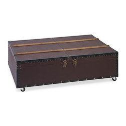Well Traveled Trunk Table - With its blend of high society style mediums, the Well Traveled Trunk Table will inject a touch of London luxe into your home. Stud detailing offsets the rich burgundy shade, while the brass toned clasp opens to reveal plenty of trunk storage for all your essentials. The caster wheels add a practical and modern edge.