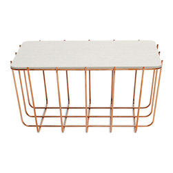 "Blu Dot - ""Blu Dot Scamp Small Table, Copper Base - White on Oak Top"" - ""Three sizes, three base finishes and two tops to choose from to scatter or cluster. Mix and match our little Scamp to form your own landscape of beauty and utility."""