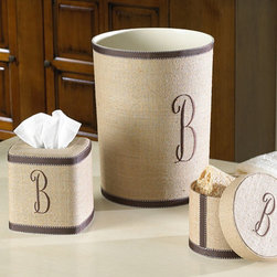 Ballard Designs - Monogrammed Linen Wastebasket -Ribbon Trim - These special accessories are hand covered in natural linen with brown ribbon trim and personalized with brown, single letter initial. Tissue Cover and Wastebasket have hard plastic liners. Hardback Lidded Box is lined in cream taffeta.*Please note that personalized items are non-returnable.