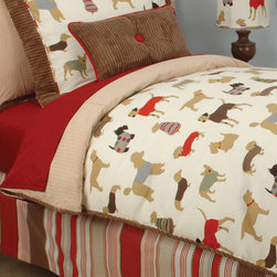 Best Friend Boys room - The adorable Doodlefish dog-inspired bedding is ideal for your favorite little dog-lover! The reversible duvet is in Best Friend with Sand Gingham* on the reverse and perfectly framed in Chocolate Milk cording. The duvet has a hidden closure.  Also available as a comforter.
