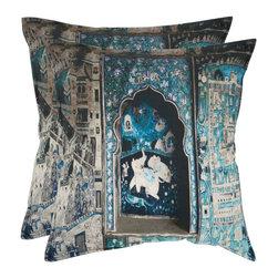Safavieh - Adari Accent Pillow  - 20x20 - Blue,Gray - Adari Accent Pillow  - 20x20 - Blue,Gray