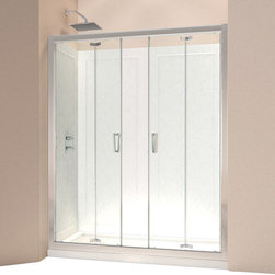 """DreamLine - DreamLine Butterfly Frameless Bi-Fold Shower Door and SlimLine 34"""" by - This DreamLine shower kit offers the perfect solution for a bathroom remodel or tub-to-shower conversion project with a BUTTERFLY bi-fold shower door and a coordinating SlimLine shower base. The BUTTERFLY shower door is comprised of two sets of bi-fold panels that provide an ample walk-in opening while saving space. The SlimLine shower base incorporates a low profile design for a sleek modern look. Choose a beautiful and efficient DreamLine shower kit to completely transform a shower space. Items included: Butterfly Shower Door and 34 in. x 60 in. Single Threshold Shower BaseOverall kit dimensions: 34 in. D x 60 in. W x 74 3/4 in. HButterfly Shower Door:,  58 - 59 1/2 in. W x 72 in. H ,  1/4 (6 mm) clear tempered glass,  Chrome hardware finish,  Frameless glass design,  Width installation adjustability: 58 - 59 1/2 in.,  Out-of-plumb installation adjustability: Up to 3/4 in. per side,  Space-saving frameless bi-fold door,  Anodized aluminum profiles and guide rails,  Door opening: 47 in.,  Reversible for right or left door opening installation,  Material: Tempered Glass, Aluminum,  Tempered glass ANSI certified34 in. x 60 in. Single Threshold Shower Base:,  High quality scratch and stain resistant acrylic,  Slip-resistant textured floor for safe showering,  Integrated tile flange for easy installation and waterproofing,  Fiberglass reinforcement for durability,  cUPC certified,  Drain not included,  Center, right, left drain configurationsProduct Warranty:,  Shower Door: Limited 5 (five) year manufacturer warranty ,  Shower Base: Limited lifetime manufacturer warranty"""