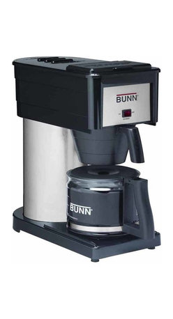 BUNN Products - Velocity Brew High Altitude 10-Cup Home Brewe - Designed to remain on to keep the internal hot water tank heated and ready to go. Unique spray head ensures complete coffee flavor extraction. Stainless steel internal hot water tank keeps water heated to optimal brewing temperature of 200� F. Porcelain-coated warming plate with lighted on-off switch. 900 watts. Warranty: Three years limited. Black color. Made in USAThe BUNN BXBD Velocity Brew High Altitude Classic 10-Cup Home Brewer in Black is specifically designed for use in high altitude areas, which includes a specially engineered thermostat for use above 4,000 feet and above.