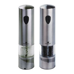 Peugeot - Peugeot Elis Stainless Steel Electric Salt and Pepper Mill Set - This Peugeot Stainless Salt and Pepper Mill Set offers the u'Select grind adjustment on pepper and salt mills; and a light to illuminate the food during grinding. They each comes with 1 light bulb mounted in the mill, plus a spare bulb. Available as battery powered (6 AAA batteries, provided).