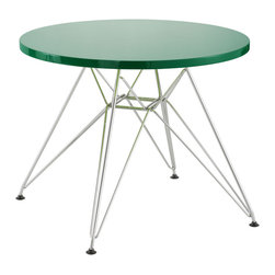 Zuo - Wacky Kid Table, Green - The Wacky kid table is lightweight and durable and welcomes creativity.  Pair this table with any of the baby chairs available and you have the perfect kid setting in any space.  Has an MDF top and a chrome base and is available in many bright colors.