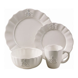 Jay Import Co - Bianca Fleur 16-Piece Dinnerware Set - Add a regal touch to your everyday meals with this dinnerware set (16 pieces, a full service for four). In classic white with a fleur-de-lis embellishment, you'll dine like royalty — even on leftovers!