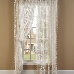 None - Scroll Lace 84-inch Curtain Panel Pair - Scalloped edges add a classic finish to this scroll design curtain panel pair. The extra wide width allows for more coverage.