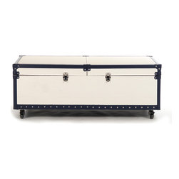 Zentique - Tiffany Sliding Bar - The Tiffany Sliding Bar features a mobile bar storage that can be used as a coffee table made of off-white vinyl and navy vinyl trim on casters.