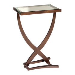 """Charleston Forge - Sterling Drink Table, Charcoal - Your solution for perfect table next to your favorite club chair. This Sterling Drink Table features clean line and a glass top for a sleek and trendy design. Customize your table with unique iron finishes you are sure to love. Table measures W 15.5"""" x D 10"""" x H 23.25""""."""