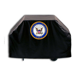 """Holland Bar Stool - Holland Bar Stool GC-Navy U.S. Navy Grill Cover - GC-Navy U.S. Navy Grill Cover belongs to Military Collection by Holland Bar Stool This U.S. Navy grill cover by HBS is hand-made in the USA; using the finest commercial grade vinyl and utilizing a step-by-step screen print process to give you the most detailed logo possible. UV resistant inks are used to ensure exeptional durablilty to direct sun exposure. This product is Officially Licensed, so you can show your pride while protecting your grill from the elements of nature. Keep your grill protected and support your team with the help of Covers by HBS!"""" Grill Cover (1)"""