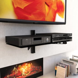 Sonax C-803-SCM 35 in. Wide Component Wall Shelf - Midnight Black - Create a clean, modern look while adding storage with the Sonax C-803-SCM 35 in. Wide Component Wall Shelf - Midnight Black. This ultra wide shelf has plenty of room for two electronic components or an array of media and fits perfectly beneath your wall mounted TV. It mounts easily on a single stud and features sneaky wire management in its spine to keep everything tidy.About SonaxLocated just outside Vancouver, Canada, Sonax has been producing top-quality contemporary furnishings for over 30 years and now ranks among Canada's largest ready-to-assemble furniture makers. Sonax's color palettes are inspired by the wood tones found in Canada's Pacific forests, and their designs have an easy-to-assemble sensibility with a truly West Coast flair. With so many inspirations springing from their natural surroundings, Sonax always considers the environment by producing furniture that is renewable, safe, and built to last.