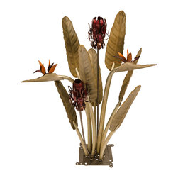 Desert Steel - Birds of Paradise with Two Torches - Provides pleasing outdoor light with two refillable torch canisters that use standard torch fuel/tiki oil (fuel not included)