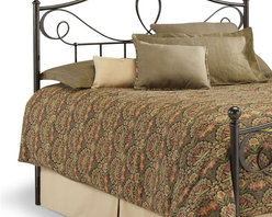 Leggett/Platt Fashion Bed - Sylvania Headboard (Queen) - Choose Size: QueenPillows not included. Ball finials. Round scrolls. Juxtaposes flourishing scroll work. Straight spindles. Made from iron. French roast color. Made in Vietnam. Full: 55 in. W x 2.5 in. D x 53 in. H (20 lbs.). Queen: 62 in. W x 2.5 in. D x 53 in. H (21 lbs.). King: 78 in. W x 2.5 in. D x 53 in. H (25 lbs.)The top of the headboard is visually enticing as iron tubing of differing diameters loop and scroll across the breadth. Adding to the visual excitement, the round scrolls become flat at each post, becoming a round form again as they join the spindles. The luscious French roast finish is a three step process of applying a brushed gold coat over black creating a deep layered color.