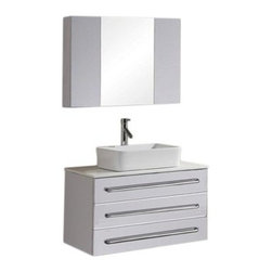 Virtu USA Ivy 32-in. White Single Bathroom Vanity Set with Faucet - The Virtu USA Ivy 32-in. White Single Bathroom Vanity Set with Faucet is a stunning, compact piece that fits perfectly into guest- or half-bathrooms without reducing floorspace. This handsome free-standing vanity is constructed from fine solid rubberwood and in protected with a bright, water-resistant white finish. A solid piece of white artificial stone caps the piece, featuring a white ceramic vessel sink (with an included faucet). Two roomy pull-out drawers are built into the design, perfect for keeping your toiletries at-hand and your counterspace uncluttered. A matching mirrored medicine cabinet is included (Dimensions: 31.5W x 23.6H inches). Piece weighs 198 lbs.About Virtu USA Each Virtu USA vanity is meticulously handcrafted by veteran trade professionals. Focusing on high-quality customer service and brilliantly designed and constructed vanities, Virtu USA strives for unparalleled uniqueness in both customer care and high-end products.