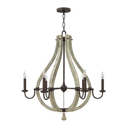 """Fredrick Ramond - Transitional Fredrick Ramond Middlefield 30"""" Wide Iron Rust Chandelier - The sculptural look of this delightful 6-light chandelier is perfect for a home entryway stairway kitchen or dining room. A dimensional openwork gourd shape frame constructed of distressed finish wood contrasts boldly with the dark iron rust finish metal curved arms bobeche and candle slips. A distressed wood bottom finial adds a delightful finishing touch. Includes a round canopy and matching chain to allow an adjustable hang height. A beautiful transitional style home lighting accent from Fredrick Ramond. Decorative transitional style 6-light chandelier. Iron rust finish arms and candle slips. Distressed wood open gourd center display and finial. Iron metal construction frame. Six max 60 watt candelabra bulbs (not included). 30"""" wide. 33"""" high. Round canopy and matching 10' chain. Includes 12' lead wire. Hang weight 27 lbs.  Decorative transitional style 6-light chandelier.  Iron rust finish arms and candle slips.  Distressed wood open gourd center display and finial.  Iron metal construction frame.  Six max 60 watt candelabra bulbs (not included).  30"""" wide.  33"""" high.  Round canopy and matching 10' chain.  Includes 12' lead wire.  Hang weight 27 lbs."""