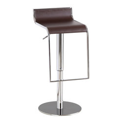 J&M Furniture - Brown Leather C027B-3 Barstool - Available in black, brown or white leather. C027B-3 Brown Leather Barstool by M Furniture swivels 360 degrees and has a hydraulic adjustable seat. Its solid stainless steel base makes it durable enough for use in any situation. Its hydraulic height adjustment emphasizes its quality.