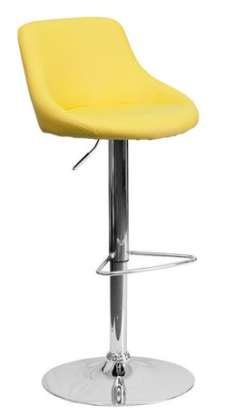 Flash Furniture - Flash Furniture Yellow Vinyl Bucket Seat Adjustable Height Bar Stool - This dual purpose stool easily adjusts from counter to bar height. The bucket seat design will make this a great accent chair around the bar area or kitchen. The easy to clean vinyl upholstery is an added bonus when stool is used regularly. The height adjustable swivel seat adjusts from counter to bar height with the handle located below the seat. The chrome footrest supports your feet while also providing a contemporary chic design.
