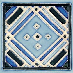 "Glass Tile Oasis - Aztec Blue 6"" x 6"" Blue 6"" x 6"" Deco Tiles Glossy Ceramic - All ceramic tiles are hand painted. Glazed thickness will vary from tile to tile, resulting in color variation. Hand-Painted Ceramic tiles will craze and crackle over time, which is intentional and a desired effect."