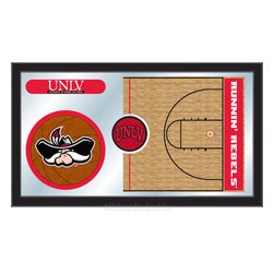 "Holland Bar Stool - Holland Bar Stool UNLV Basketball Mirror - UNLV Basketball Mirror belongs to College Collection by Holland Bar Stool The perfect way to show your school pride, our basketball Mirror displays your school's symbols with a style that fits any setting.  With it's simple but elegant design, colors burst through the 1/8"" thick glass and are highlighted by the mirrored accents.  Framed with a black, 1 1/4 wrapped wood frame with saw tooth hangers, this 15""(H) x 26""(W) mirror is ideal for your office, garage, or any room of the house.  Whether purchasing as a gift for a recent grad, sports superfan, or for yourself, you can take satisfaction knowing you're buying a mirror that is proudly Made in the USA by Holland Bar Stool Company, Holland, MI.   Mirror (1)"