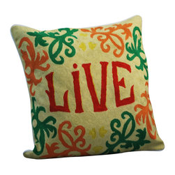 "Crewel Work Pillow Live Design - Let your first text message of the morning be this one word mantra. You can use this plush and intricately hand-embroidered pillow alone on a bed or chair, or pair it with the ""Love"" pillow for an undeniably affirmative sofa statement."