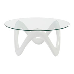 Eurostyle - Euro Style Chelsea Collection Coffee Table in High Gloss White/Clear - Coffee Table in High Gloss White/Clear in the Chelsea Collection by Eurostyle