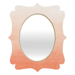 DENY Designs - Social Proper Peach Ombre Quatrefoil Mirror - Mirror, mirror on the wall. Who's the fairest one of all? We'll that's easy, the quatrefoil mirror collection, of course! With a sleek mix of baltic birch ply trim that's unique to each piece and a glossy aluminum frame, the rectangular mirror makes you feel oh so pretty every time you catch a glimpse. Custom made in the USA for every order.