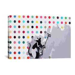 "Banksy - Banksy Canvas Print // Banksy Rat Spots Damien Hirst Canvas Print // 18"" H x 26"" - Museum-quality canvas print by Banksy gallery wrapped and ready for wall hanging with no additional framing required. The canvas print is remarkably bright in color and unrivaled in detail with quality ink that has been light-tested to last over 100 years!"