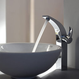 "Kraus - Kraus KEF-14700-PU-10CH Chrome Exquisite Illusio Single Hole Vessel - Product Features:Fully covered under Kraus  limited lifetime warrantyAll-brass faucet constructionHigh-quality, corrosion and rust resistant triple-plated finish - finish covered under lifetime warrantySingle handle operationTall design for use with vessel (above-the-counter) sinksADA compliantLow lead compliant - complies with federal and state regulations for lead contentDesigned to easily connect to standard US plumbing supply bibsExtra secure mounting assemblyAll necessary mounting hardware includedProduct Technologies and Benefits:Precision Kerox Cartridges: The cartridge's job is to deliver smooth handle operation and water flow, throughout hundreds of thousands of uses, without ever leaking – all while under a punishing 60 pounds-per-square-inch of pressure. For these reasons, it is quite literally what ""makes or breaks"" the faucet. Kraus understands this, so they take no shortcuts here, importing their cartridges from the world's leading manufacturer of high-end precision ceramic disc cartridges, Kerox in Hungary.Swiss-Made NeoPerl Aerators: Aerators are possibly the most under-appreciated component within faucets. Not only do they soften the stream (preventing splashing), but they also control the straightness, diameter, overall delivery of water. Fortunately, like their cartridges, Kraus recognizes this and chooses to takes no gambles here – they import their aerators from NeoPerl in Switzerland, the world's leading manufacturer for high-end and specialty aerators.Heavily Certified: Kraus has gone to great lengths to be able to provide you, the homeowner, the rest-easy satisfaction knowing that your faucet is certified and listed by all the major product testing boards in the US and Canada. This means that this faucet is deemed safe to use and"