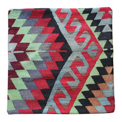 Authentic, Hand Woven Turkish - Antique Turkish Kilim Pillow Cover - All Pillow covers are authentic, original Hand Woven from Antique Turkish Kilim Carpets, this pillow cover has a Wool front and cotton back with Zipper entry.  Please note:  pillow insert not included.