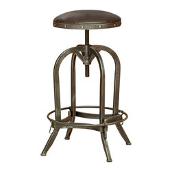 Great Deal Furniture - Dempsey Swivel Adjustable Bar Stool, Brown Leather - The Dempsey Bar Stool is a perfect combination of refinement and edge. The smooth and sophisticated upholstery on the seat is juxtaposed with a raw, natural antiqued iron frame, creating a unique overall industrial look for any room in your home.