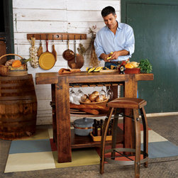 Barrel Stave Kitchen Island - This has a great rustic charm, and it would make a great work station for food preparation.