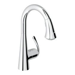 "Grohe - Grohe 32 298 000 Ladylux Cafe Main Sink Dual Spray Pull-Down Kitchen Faucet in S - Warmly unpretentious, the Ladylux Cafe Spray pull-down faucet offers a uniquely styled dual-spray ""trigger-type"" control which allows convenient switching between regular water flow and a spray flow. Like it's sister Ladylux Plus, Ladylux Cafe's smartly designed lever allows fingertip control of water temperature and flow thanks to Grohe SilkMove technology. Add to this a 360 degree swivel spout and SpeedClean, an anti-scale system designed to eliminate scale from spray jets, and you have one of the hardest working mixer faucets around.Available finishes: StarLight Chrome - 32 298 000 SuperSteel - 32 298 DC0 RealSteel Stainless Steel/Black - 32 298 KD0 RealSteel Stainless Steel - 32 298 SD0Grohe Ladylux Café Main Sink Dual Spray Pull-Down Kitchen Faucet include: Solid brass body"