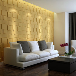 None - 3D Wall Panel Blocks - These glue-on 3 dimensional wall d_cor panels are made of plant fibers and have very easy 4-step instructions. If your house has damaged walls these blocks would look great covering them, and can be painted over to match any room decor.