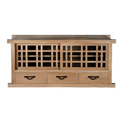 Gingko - Tansu Long TV Stand, Natural Walnut - Forget the big-box pressboard pieces. This Asian-inspired cabinet is handmade of solid walnut and features sliding glass doors, two interior shelves and three drawers with black iron hardware.