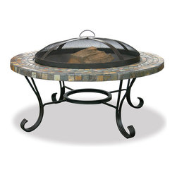 Blue Rhino - Outdoor Firebowl - This slate firebowl provides 360 degree of warmth and view, perfect for family and friendly gatherings. With slate tiles and copper inlays, a convenient removable spark screen is included.