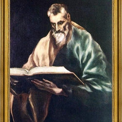 """El Greco-18""""x24"""" Framed Canvas - 18"""" x 24"""" El Greco Apostle St Simon framed premium canvas print reproduced to meet museum quality standards. Our museum quality canvas prints are produced using high-precision print technology for a more accurate reproduction printed on high quality canvas with fade-resistant, archival inks. Our progressive business model allows us to offer works of art to you at the best wholesale pricing, significantly less than art gallery prices, affordable to all. This artwork is hand stretched onto wooden stretcher bars, then mounted into our 3"""" wide gold finish frame with black panel by one of our expert framers. Our framed canvas print comes with hardware, ready to hang on your wall.  We present a comprehensive collection of exceptional canvas art reproductions by El Greco."""