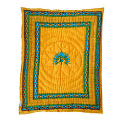 Peacock Quilted Cotton Baby Blanket