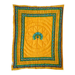 Baby Baazaar Inc. - Peacock Quilted Cotton Baby Blanket - Gender neutral and oh-so splendid, this Indian, hand quilted, cotton baby blanket presents the majestic feathered spread of the male peacock in courtship mode. Screenprinted with azo-free dyes, the sunny yellow background makes the peacock design pop. It will brighten your baby nursery and makes a great shower gift to those waiting for the gender surprise!